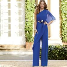 Dresses Weddings Royal-Blue Pants Groom Half-Sleeves Chiffon Long Sheath with Suit