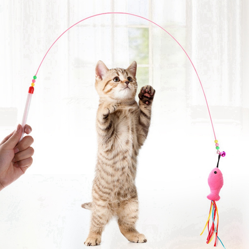 2020 Pet <font><b>Cat</b></font> <font><b>Toys</b></font> Teaser Kitten Fishing Rod Wand <font><b>Toy</b></font> Pet Supplies For <font><b>Cat</b></font> <font><b>Stick</b></font> Wire Interactive Training <font><b>Toy</b></font> image