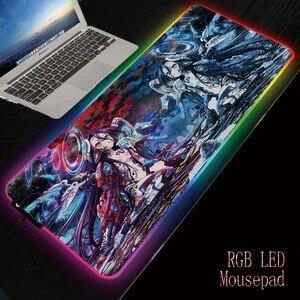 MRGBEST нет игры нет жизни аниме компьютерная Коврик Для Мыши Led подсветка клавиатура настольный коврик игровой RGB большой коврик для мыши XL XXL 90...