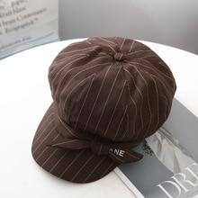 Elegant Ladies Beret Hat for Women Autumn Winter Octagonal Cap Hats Stylish Artist Painter Newsboy Caps stripe