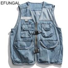 Coats Jean-Vest Multiple-Pockets Sleeveless Denim Jackets Hip-Hop-Vests Streetwear Zipper