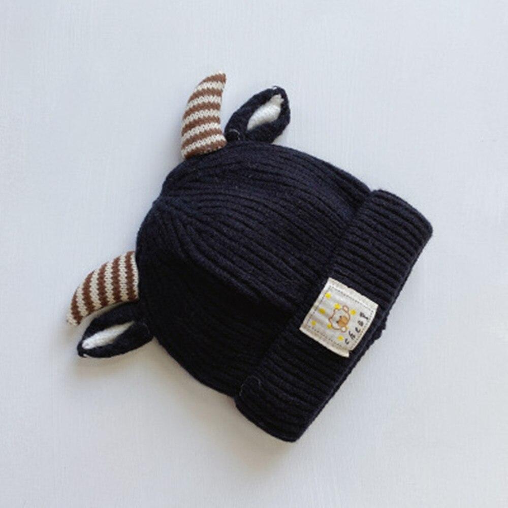 Осень и зима Корейская версия, милые вязаные свитера на хлопковой подкладке теплая шапка для младенца детская одежда из шерсти и Кепки Детский Рождественский подарок Кепки s - Цвет: 3