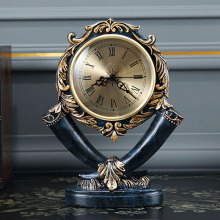 European Ornaments Table Clock Living Room Retro American Mute Pendulum Desktop Home Decoration