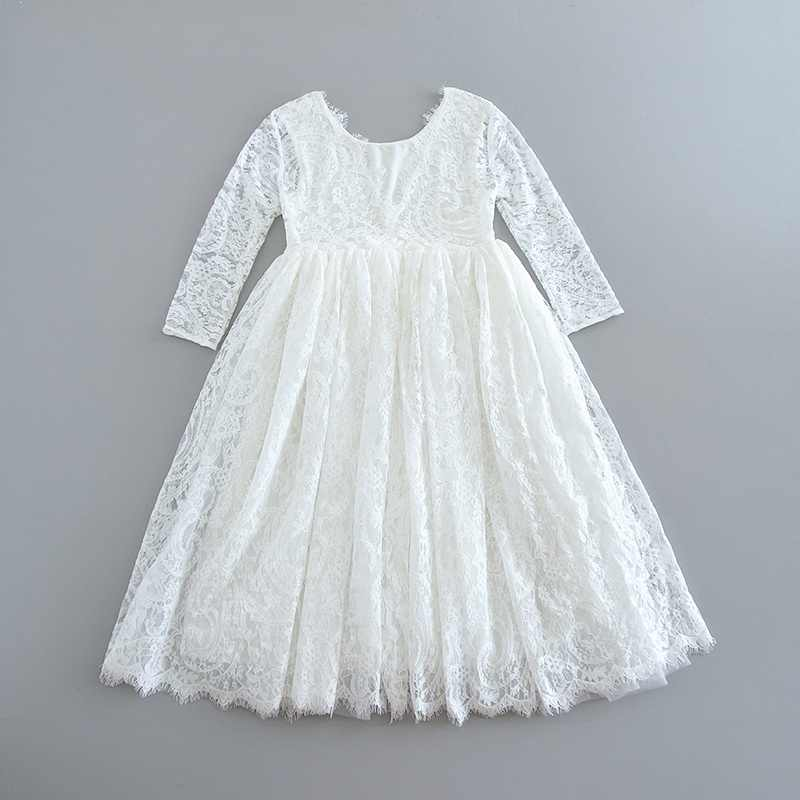 Venta al por menor vestido de encaje blanco para niñas vestido de pestañas vestidos de princesa para niñas ropa de bebé 1-6Y E17125