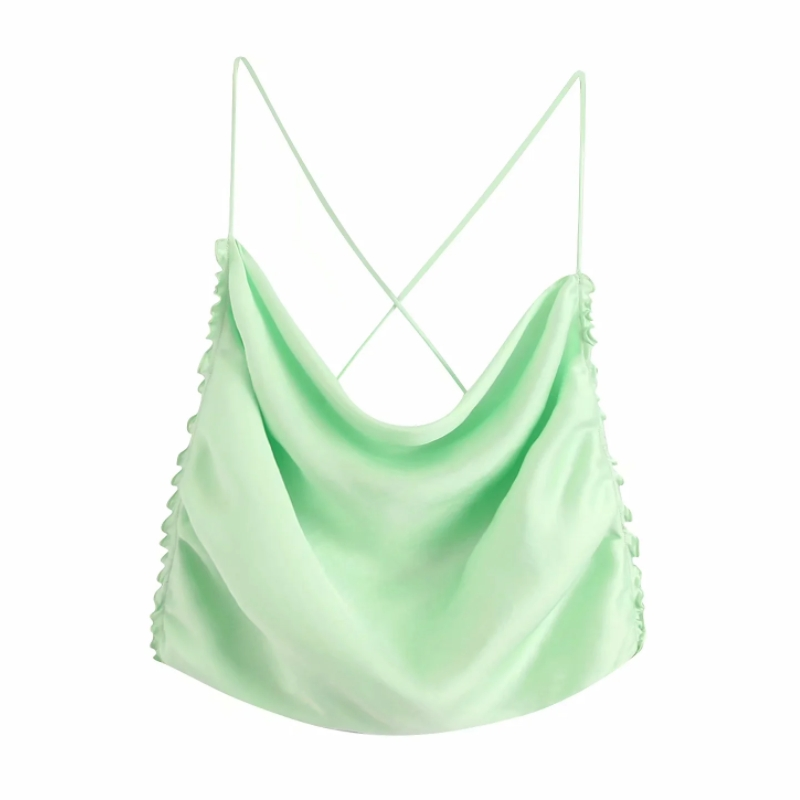 New 2020 Women Spaghetti Strap Solid Satin Short Shirts Blouse Women Sexy Backless Agaric Lace Sling Femininas Crop Tops LS6506