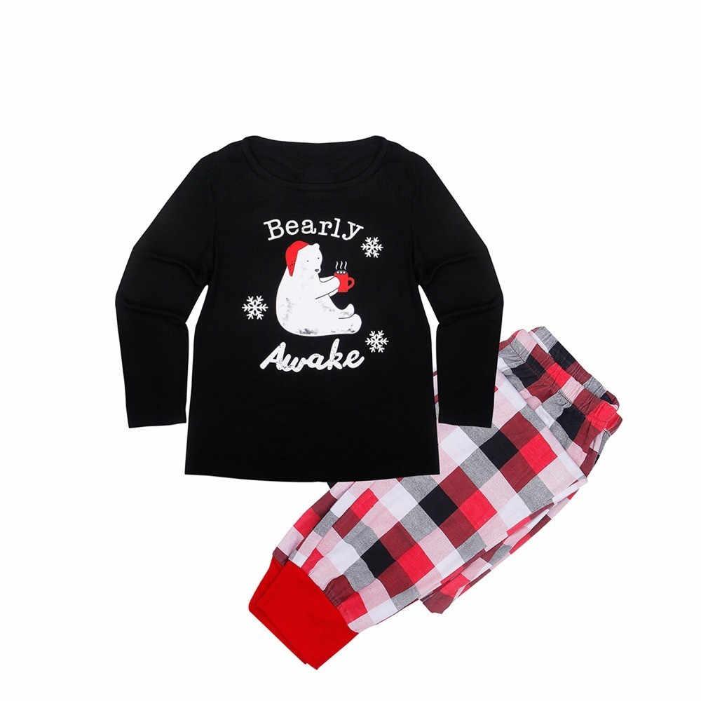 ใหม่ชุดนอนคริสต์มาสครอบครัวชุดนอนชุดนอนเสื้อกางเกงลายสก๊อตชุดสำหรับ Daddy Mommy และ Me ครอบครัวชุดเสื้อผ้า