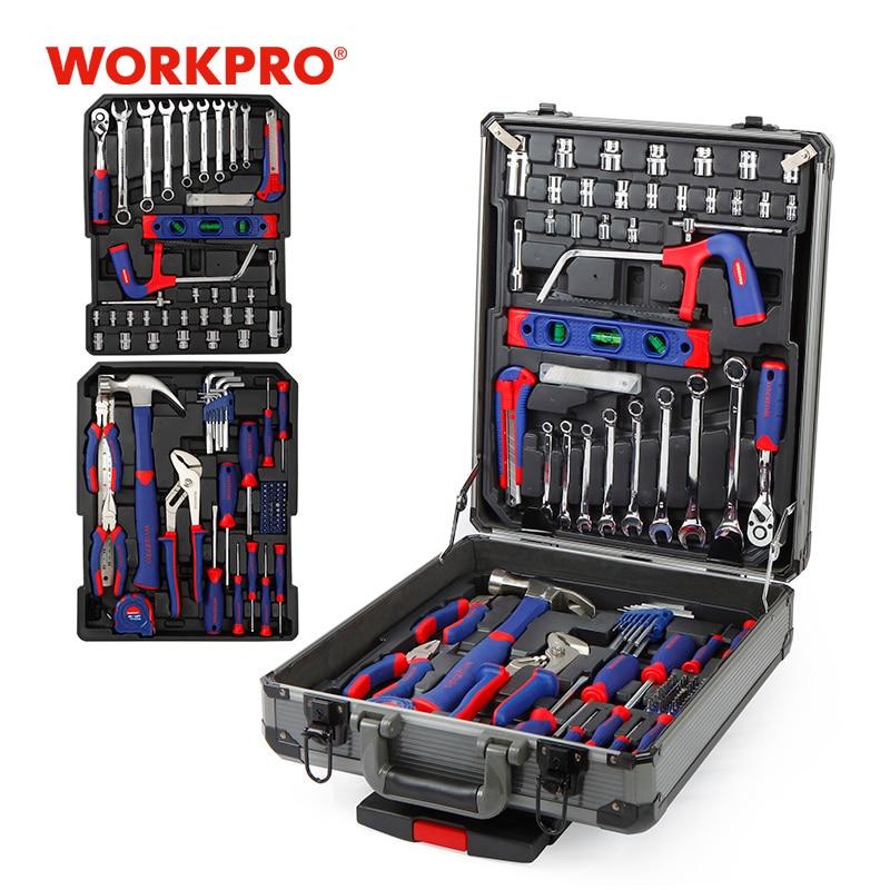 WORKPRO 111 шт. Набор инструментов, набор ручных инструментов, алюминиевый чехол на колесиках, ящик для инструментов, набор для ремонта, домашний