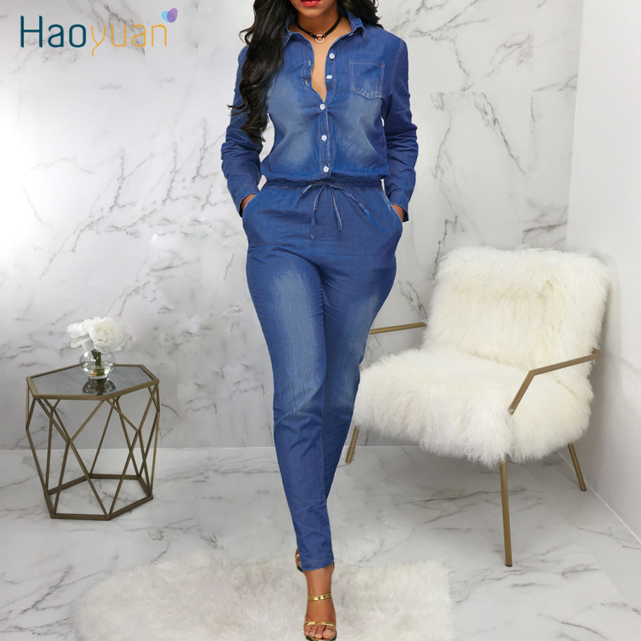 HAOYUAN Blue Denim Rompers Womens Jumpsuit Fashion Nova Fall Body Overalls One Piece Outfits Sexy Long Sleeve Jeans Jumpsuit