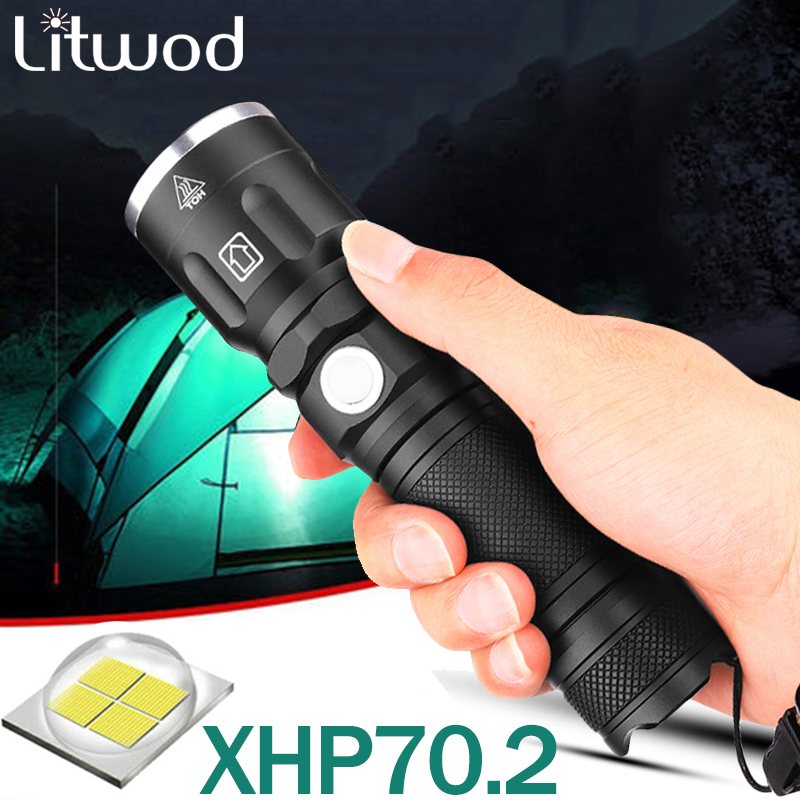 Xhp70.2 Powerful LED Flashlight Zoomable Lamp 3 Modes Use 26650 And 18650 Rechargeable Battery Tactical Flash Light For Camping