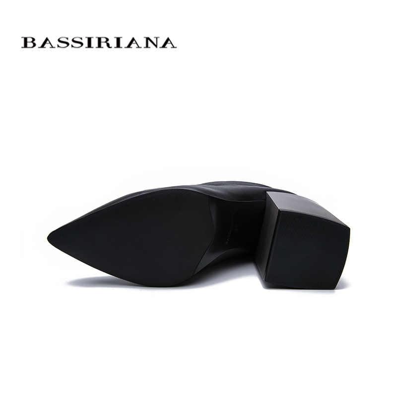 BASSIRIANA 2019 ilkbahar ve sonbahar yeni deri kısa çizmeler kadın yüksek topuklu ayakkabılar siyah kare ayak