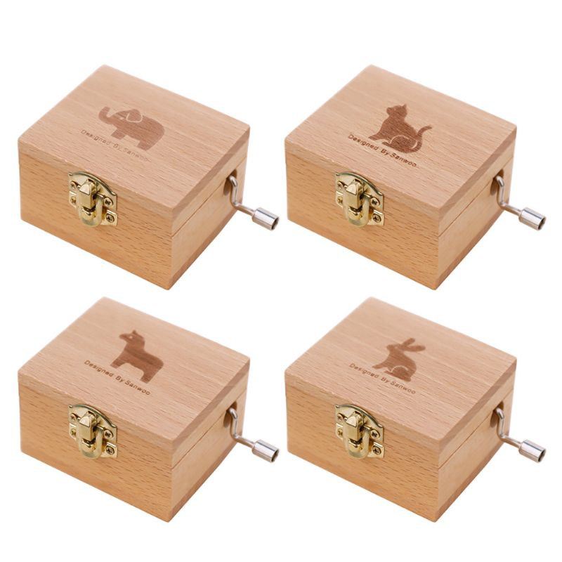 Wooden Music Box Multiple Music Random Engraved Musical Case Toys Kids  Gift
