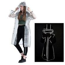 Women Waterproof Hooded Raincoat  Reflective Lightweight Transparent