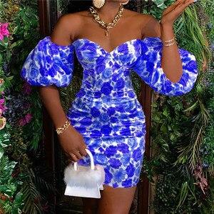 2021 letnie kobiety sukienka ołówkowa Off Shoulder Floral eleganckie sukienki Sexy Skinny wieczór Party sukienki wizytowe Ruffles sukienka damska