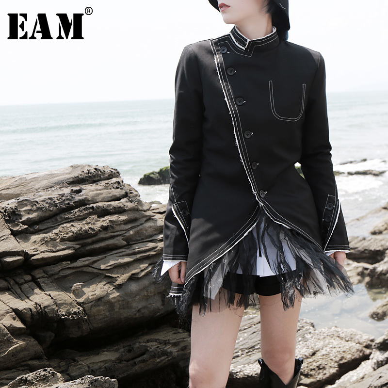 [EAM] Loose Fit Black Mesh Split Asymmetrical Jacket New Stand Collar Long Sleeve Women Coat Fashion Spring Autumn 2020 1H0610