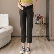 Льняные брюки для беременных с карманами и низкой талией хлопковые