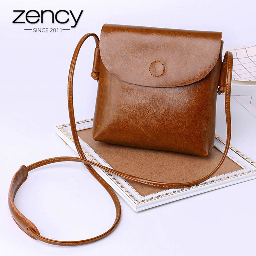 Zency 100% Genuine Leather Women Messenger Purse Casual Flap Classic Brown Lady Shoulder Crossbody Bag Black Super Quality