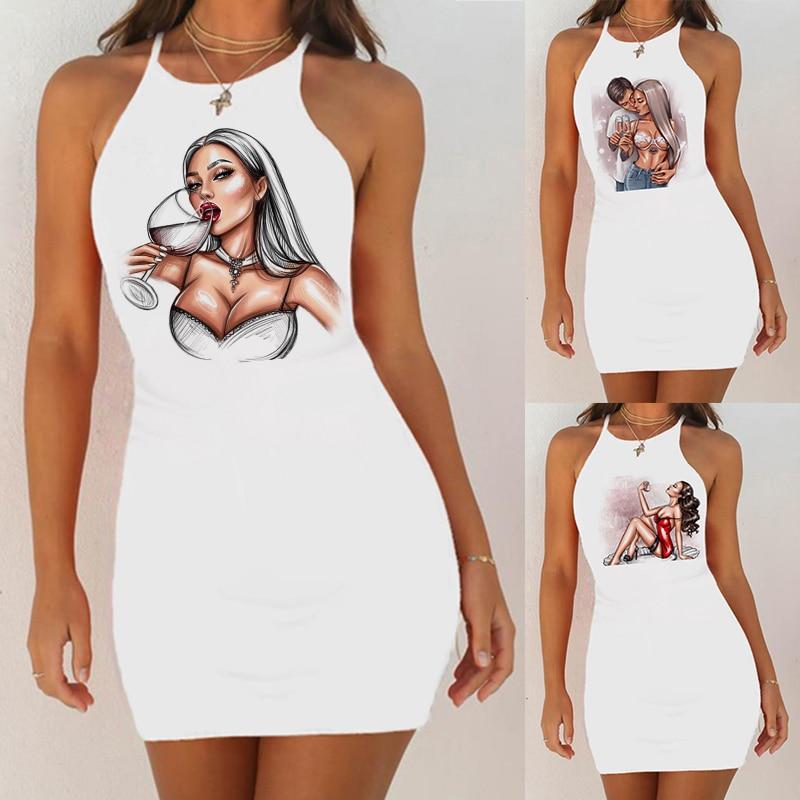 2020 New Women Print Slim Pack Hip Sleeveless   Sleepshirts   Women Sexy Night Dress   Nightgown   Sexy Night Shirts Nightie Sleepwear