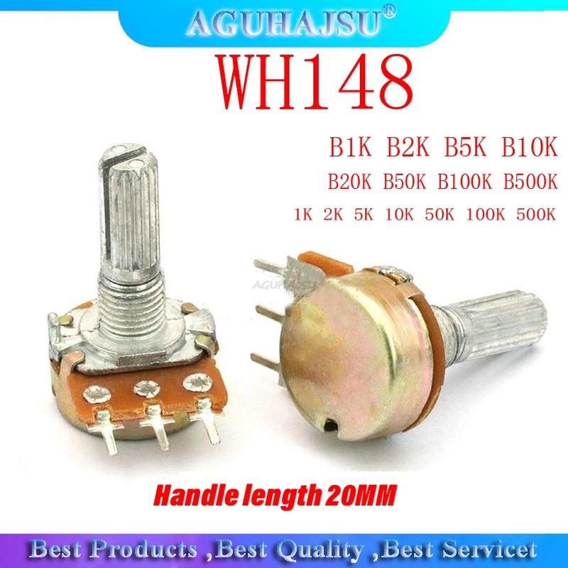 5pcs WH148 B1K B2K B5K B10K B20K B50K B100K B500K 3Pin 20mm Shaft Amplifier Dual Stereo Potentiometer 1K 2K 5K 10K 50K 100K 500K