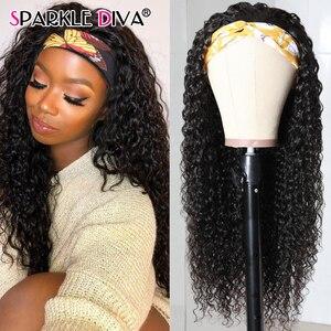 Image 5 - Brazilian Kinky Curly Human Hair Wig For Black Women 150%  Full Machine Made Wig Remy 360 Head Band Wigs Human Hair Wigs No Glue