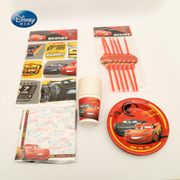 Suitable for 24 People Disney Cars Tableware Set Total 103 pcs Cup+Napkin+Tablecover+Straw children Party Supplies Decoration