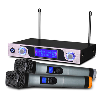 Cheap UHF Wireless Microphone with LCD Display Dual Cordless Mikrofon Set MU-589 for  studio recording TV Box Audio Mixer