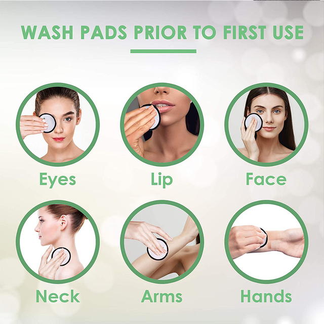 16 Pack Reusable Bamboo Cotton Makeup Remover Pads Face Skin Cleaner Beauty Tools For Remover Eye Shadow, Lipstick, Foundation 6
