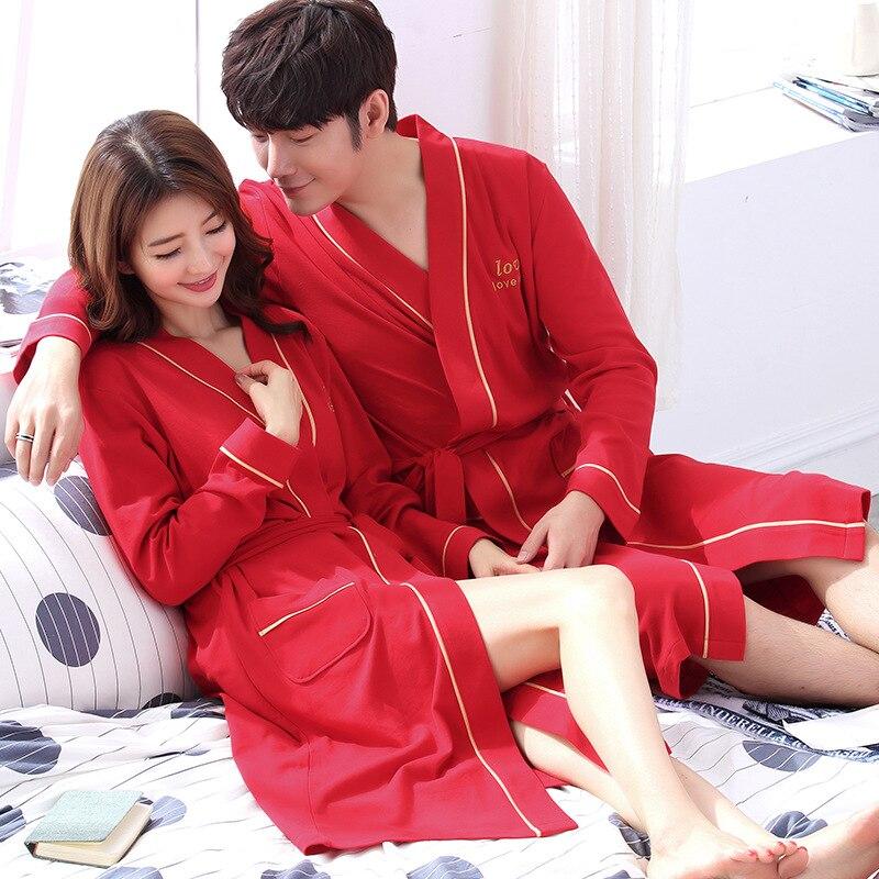 Red Nightwear Home Dress Kimono style Wedding Bath Gowns cotton Solid Sleepwear Robes Pajamas