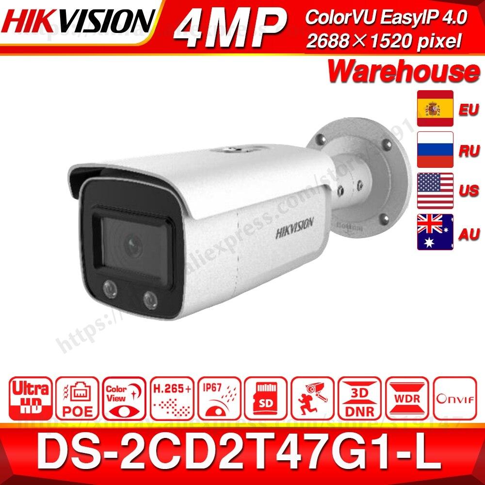 Hikvision colorvu original câmera ip DS-2CD2T47G1-L 4mp rede dome poe câmera ip h.265 cctv câmera sd slot para cartão