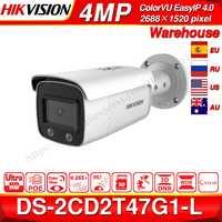 Hikvision ds ColorVu Originale Macchina Fotografica del IP di DS-2CD2T47G1-L 4MP Dome di Rete IP di POE Macchina Fotografica H.265 Fessura Per Carta di DEVIAZIONE STANDARD Della Macchina Fotografica del CCTV