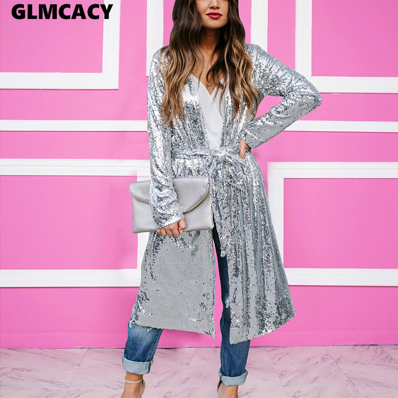 Women Sequin Mesh Long Coat Trench Coat Outerwear Fashion Spring Summer Party Trench Coat 2018 New