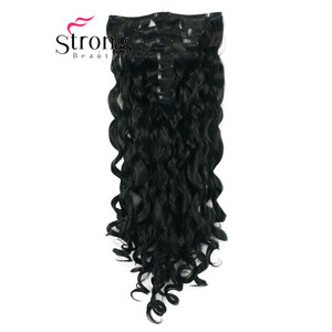 """Image 2 - StrongBeauty 20"""" Wavy Full Head Synthetic Heat Resistance Hair Extensions Clip on in Hairpieces 8pcs 260g"""