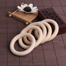 5pcs 70mm Baby Wooden Teething Rings Necklace Bracelet DIY Crafts Natural New D7
