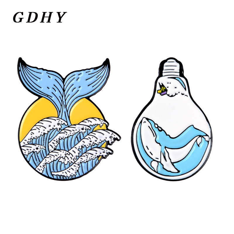 GDHY Blue Ocean Wave Mermaid tail and <font><b>Whale</b></font> Bulb Pins Brooch Summer Ocean Blue Sea wave <font><b>Whale</b></font> Enamel pin Badge Jewelry for Kids image