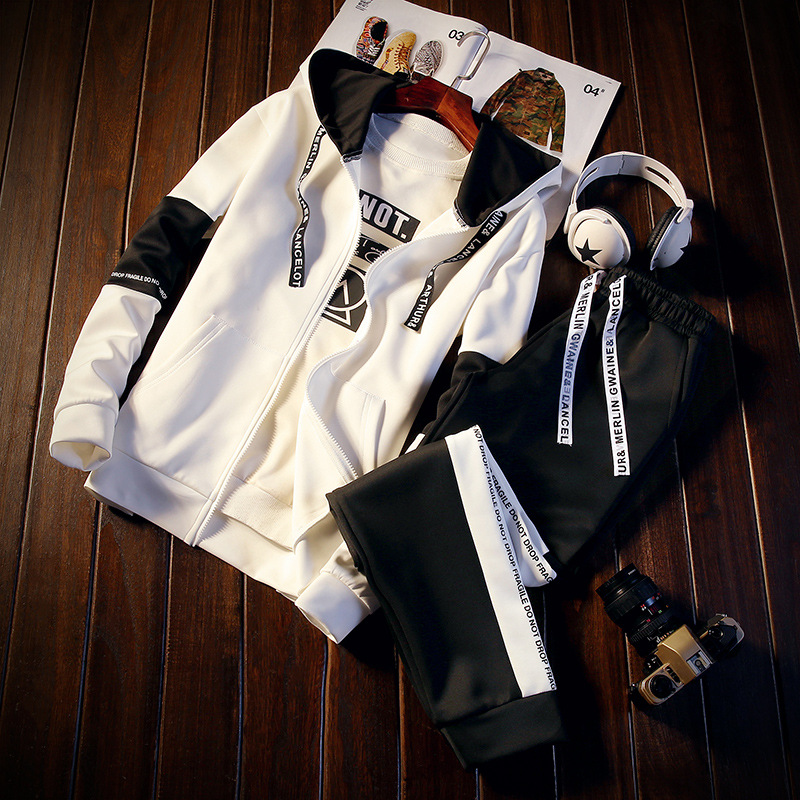 Spring Sports Hoodie Two-Piece Set 12-13-14-15-16-Year-Old Boy Junior High School Students Handsome Clothes A Set