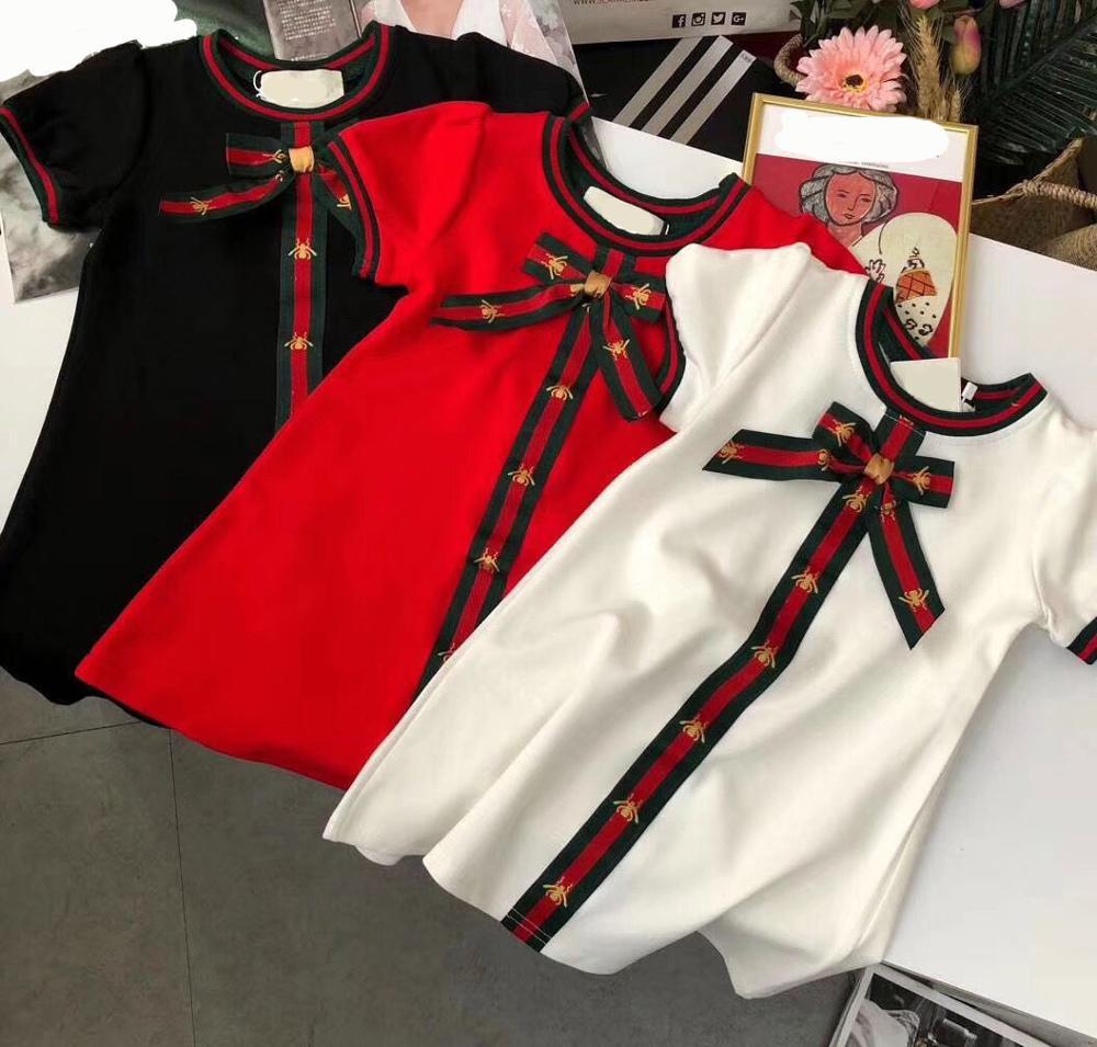 Filles robe de princesse enfants robe nœud robes d'été enfant en bas âge filles robe bébé vêtements brodés marque de luxe Style robe