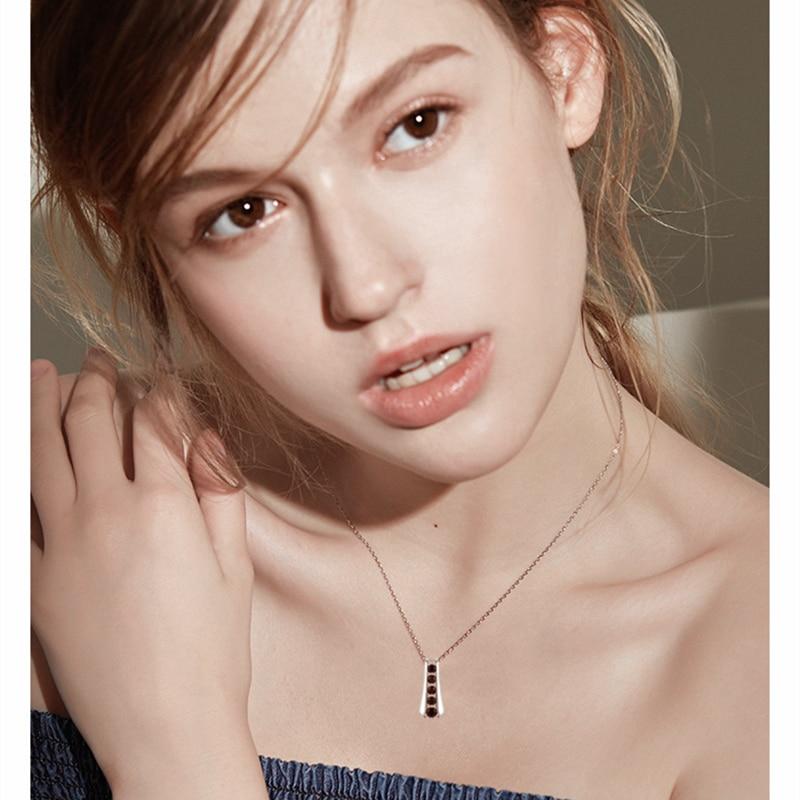 Trendy 925 Sterling Silver Necklace for Women Black Spine Female Bijoux Girls Gift Sterling Silver Jewelry K010