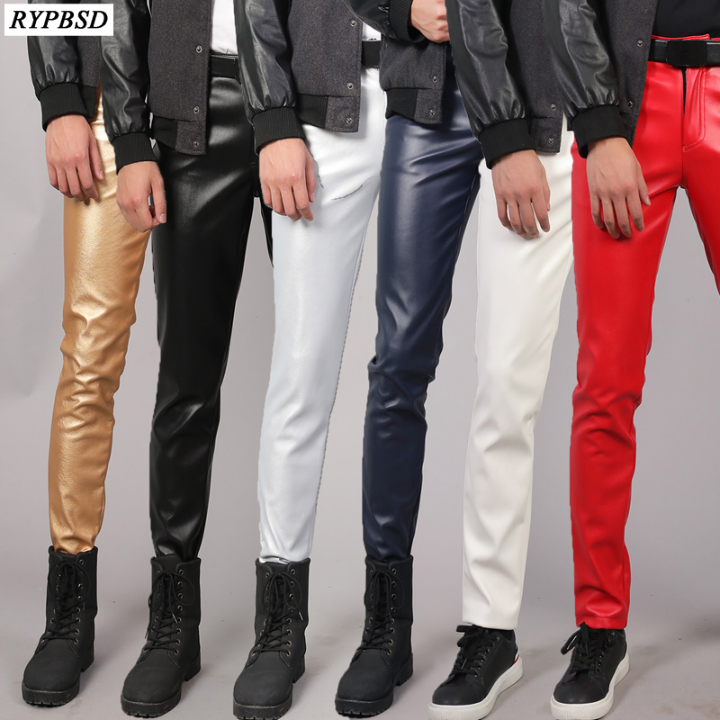 PU Leather Pants Men Slim Fit Stretch Fashion Casual High Quality Zipper Skinny Nightclub Faux Mens Leather Pants Plus Size 38