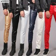 Pu レザーパンツ男性スリムフィットストレッチファッションカジュアル高品質ジッパースキニーナイトクラブフェイクメンズレザーパンツプラスサイズ 38