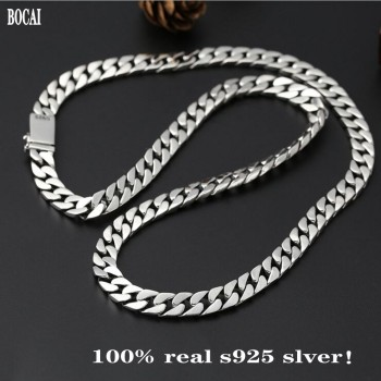 BOCAI New 100% real Solid S925 pure silver jewelry Man necklace  popular simple male necklaces  Sweater chain
