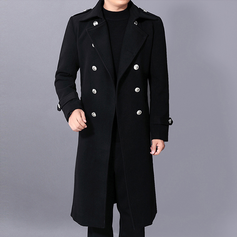 New Autumn Winter Fashionable Woolen Overcoat Super Jacket Casual long Double Breasted Mens Wool Coat Plus Size