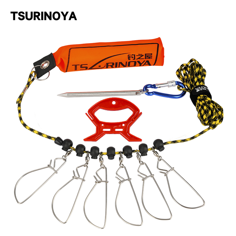 TSURINOYA Buoyancy Rod Fishing Lock Buckle Belt Floating Stainless Steel Fish Lock Buckle 5m Fishing Tackle Tool Accessory