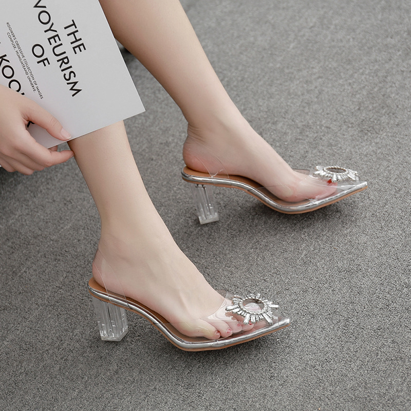 35-42 Women Sandals Pumps Shoes Summer Ner Fashion Transparent Thick Heels 8cm High Heels Sexy Casual Female Sandals Plus Size