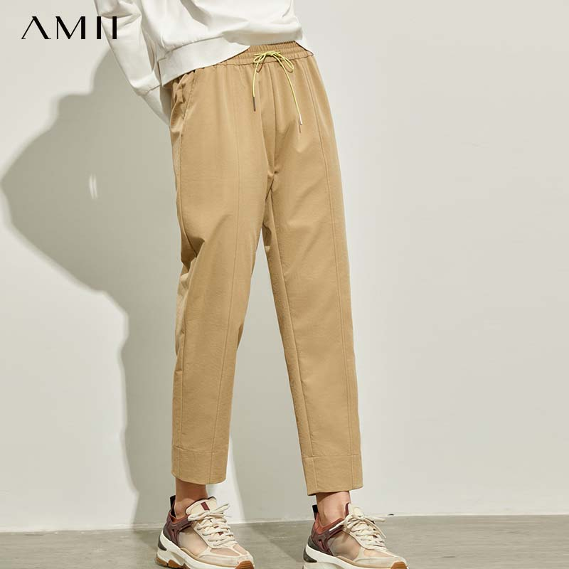 Amii Autumn Winter Vintage High Waist Pants Female Casual Solid Straight Ankle-Length Pants 11940420