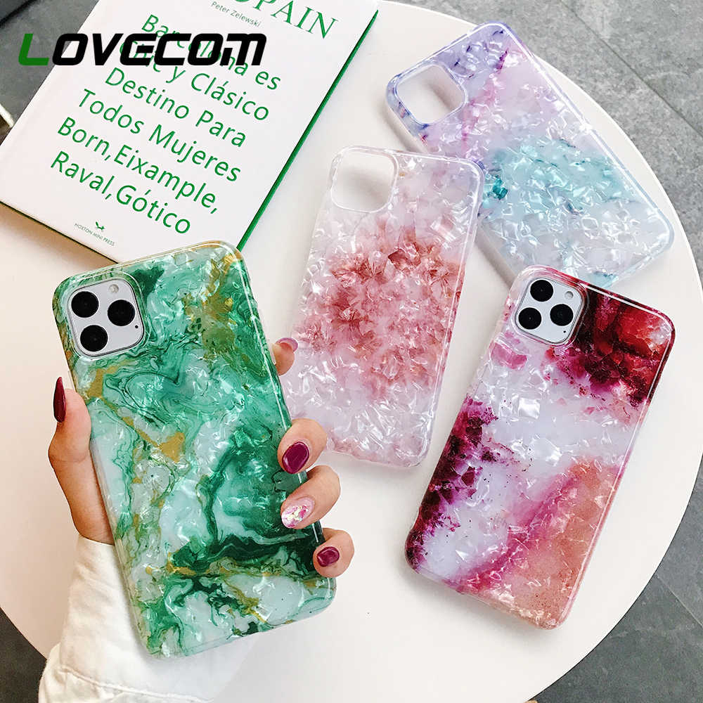 Lovecom untuk iPhone 11 Pro Max XR X Max 6 6S 7 7 Plus X Mimpi Conch glossy Marmer Lembut IMD Full Body Cover Hadiah