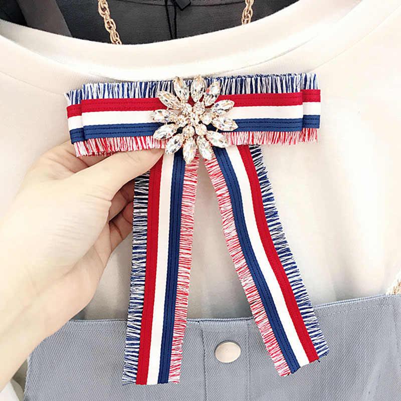 Vintage Korea Besar Kain Dasi Bros untuk Gadis Fashion Wanita Garis Kain Kemeja Korsase Leher Dasi Pesta Pernikahan Aksesoris