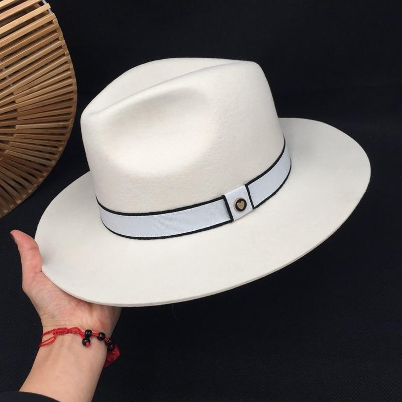White Wool Hat Big Brim Hat Socialite Elegant Female Retro Joker Men&women For Hat Fedoras