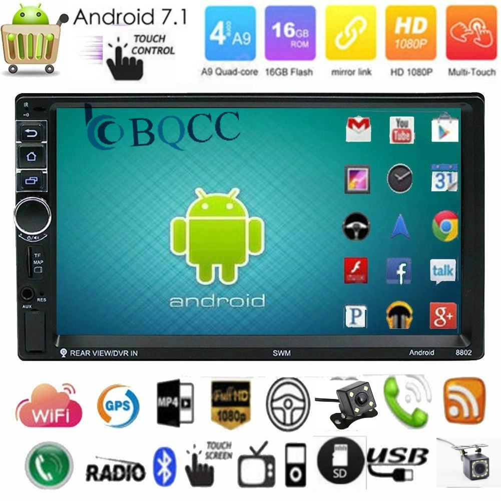 """7/"""" Double 2DIN Android 7.1 WIFI 4G Car Radio Stereo MP5 Player GPS 16G Bluetooth"""