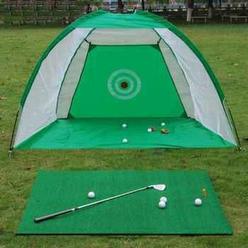 Foldable Golf Hitting Cage Training Aids Indoor Outdoor Sports Golf Cage Swing Trainer Chipping Net Garden Golf Practice Net