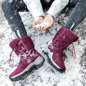 Image 4 - יוניסקס שלג מגפיים חם לדחוף אמצע עגל מגפיים עמיד למים החלקה חורף עבה עור פלטפורמת נעליים חמות גדול גודל 35 46