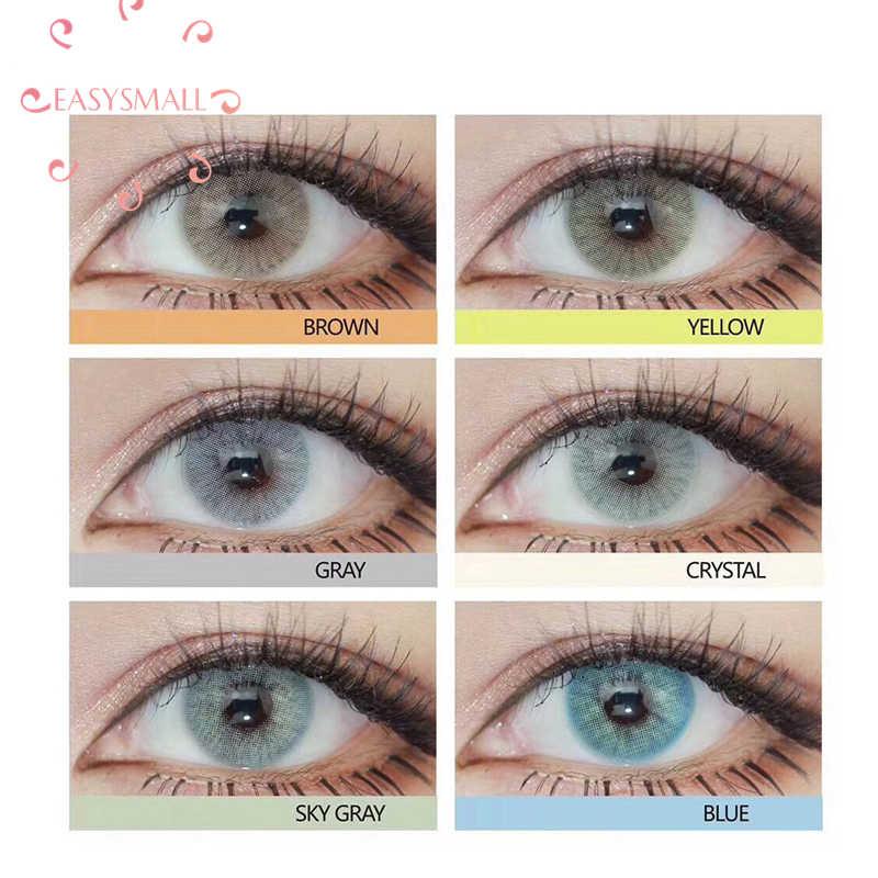 Easysmall 6 kolorowe soczewki kontaktowe do oczu kosmetyki aurora polaris szary kolor oczu małe piękno uczeń stopień opcja 2 sztuk/para